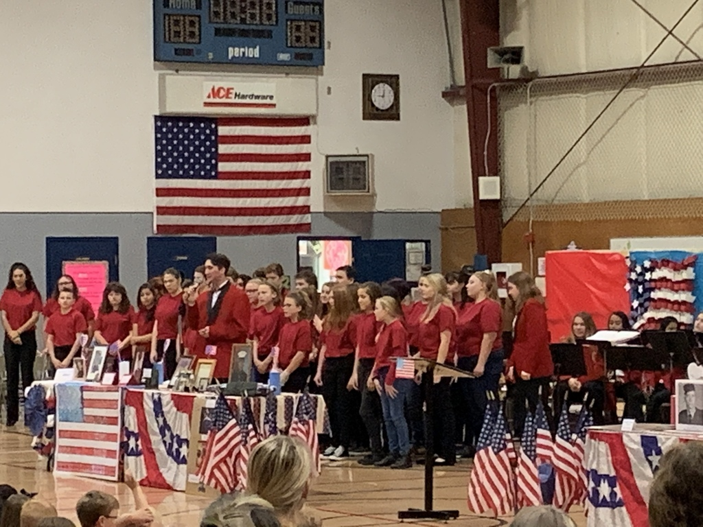Veteran Assembly, Mekhi Morlin solo with the WMS/WHS Choir.